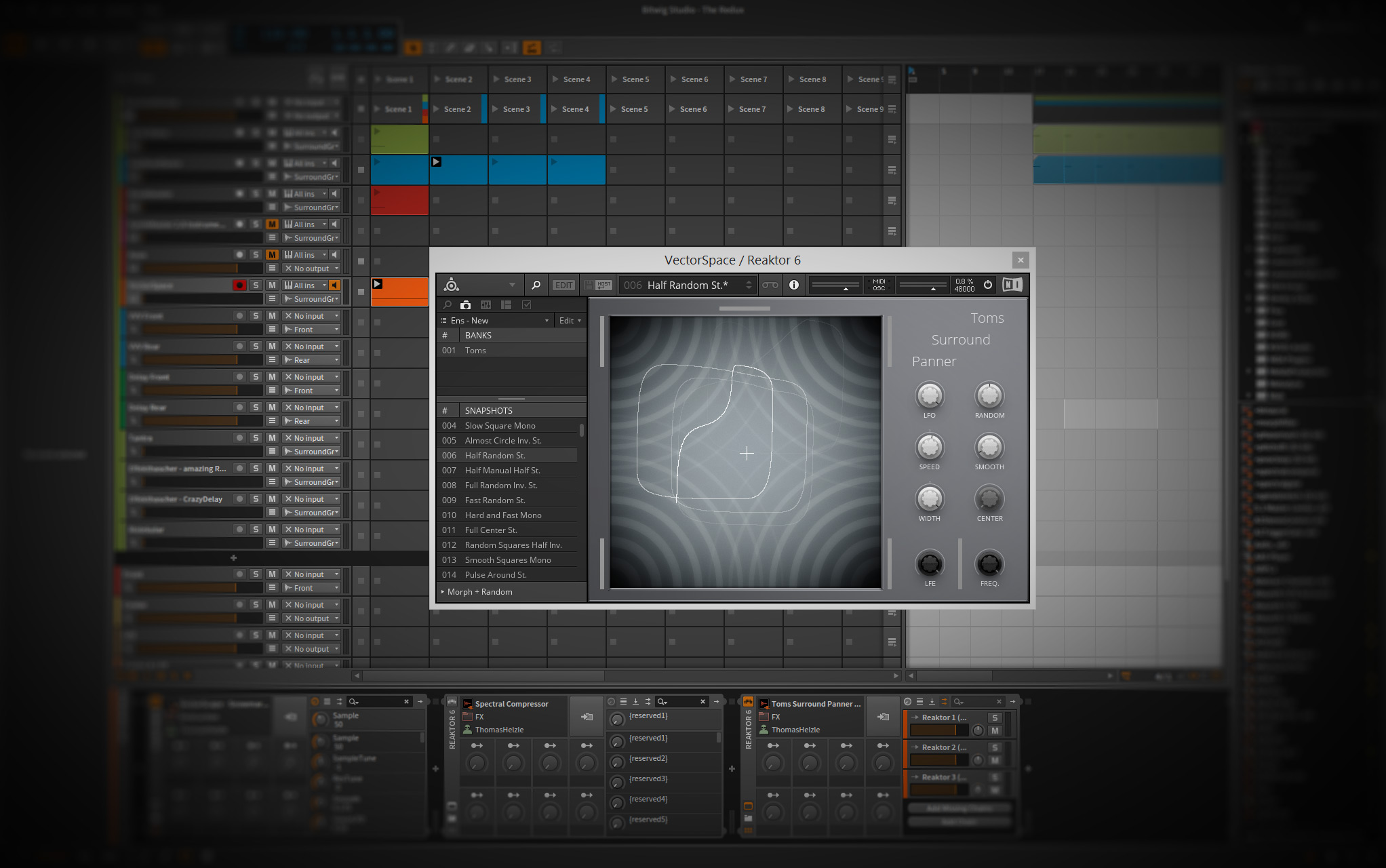 My Tool for NI Reaktor 6 to enable simple surround panning in Bitwig Studio